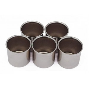 Kaarsencups recht, kleur: zilver, 5st.