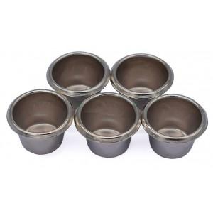 Kaarsencups taps, kleur: zilver, 5st.